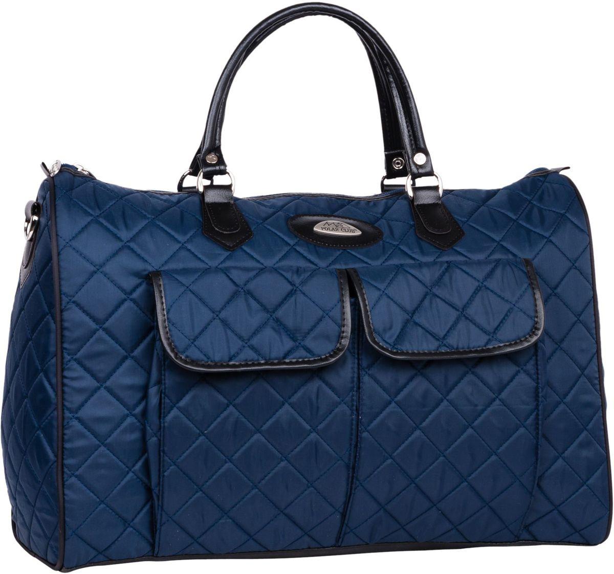 Сумка дорожная Polar Инесса, цвет: синий, 36 л, 35 х 49 х 19 см. П7081П7081Вместительная недорогая дорожная сумка из полиэстера с водоотталкивающей пропиткой. Внутри дополнительный карман для документов. Снаружи - два кармана (на внешней и внутренней стороне сумки), для мелких предметов. Ручки выполнены из высокопрочного кожзаменителя. В комплект входит съемный плечевой ремень.