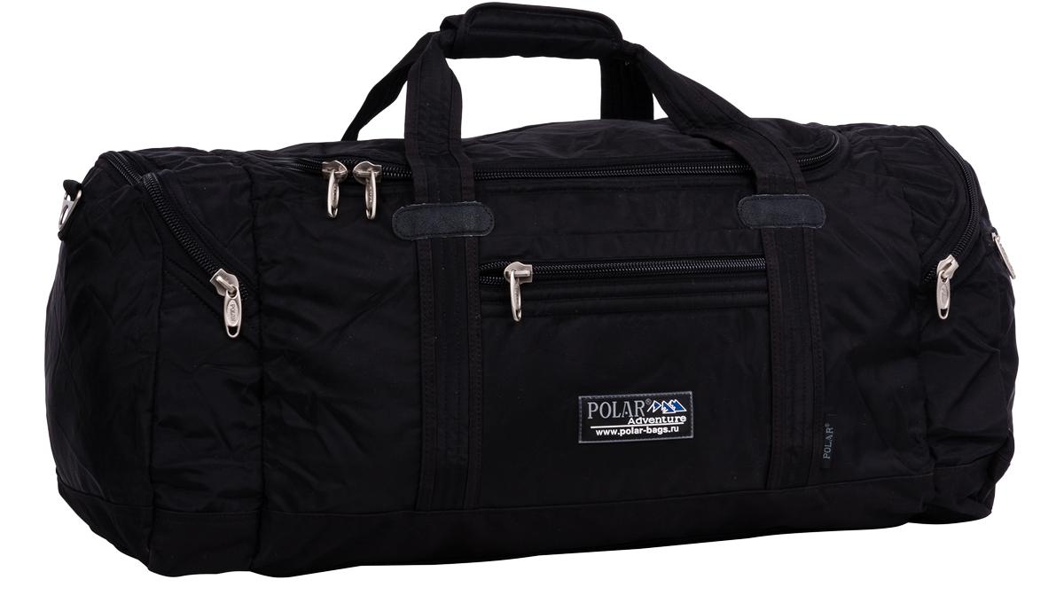 Сумка спортивная Polar, цвет: черный, 53 л, 28 х 70 х 27 см. П808А-05П808А-05Спортивная сумка фирмы Polar. Большое отделение для Ваших вещей. Внутри - кармашек на молнии под документы. Снаружи - два кармашка на молнии по бокам сумки. Один карман на молнии спереди сумки. Имеется плечевой ремень.