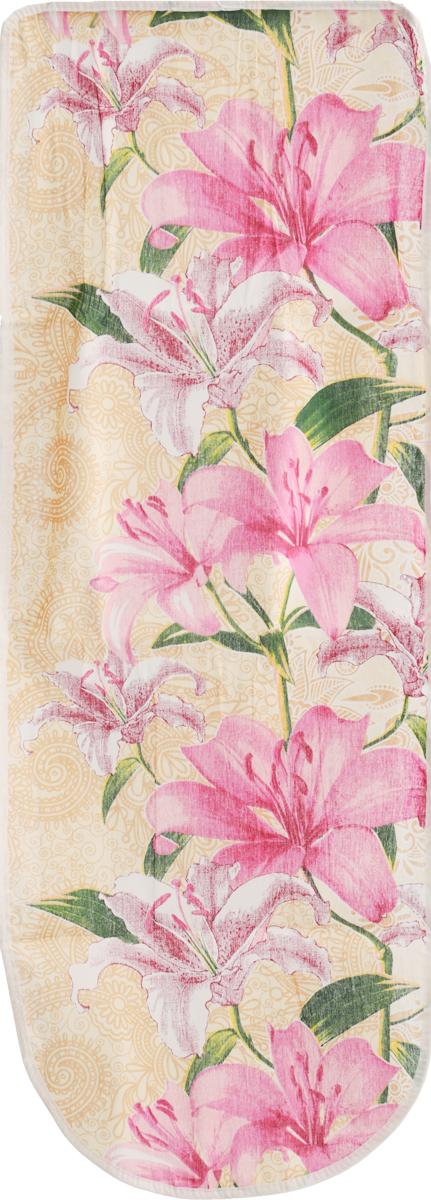 Чехол для гладильной доски Eva, цвет: розовый,бежевый, 125 х 47 смЕ13 _розовый, бежевыйЧехол для гладильной доски Eva, цвет: голубой, коричневый, 125 х 47 см