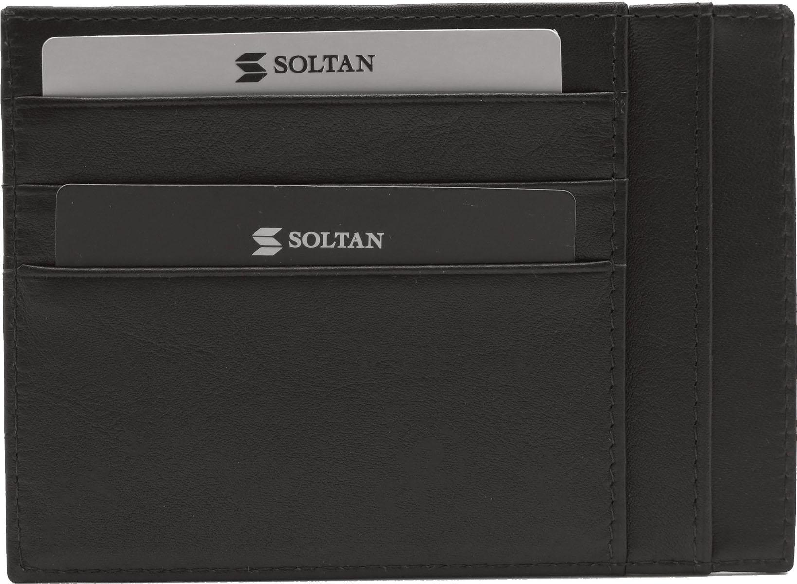 Футляр для кредитных карт Soltan, цвет: коричневый. 061 01 03061 01 03Плоский футляр для автодокументов/кредиток Soltan из натуральной кожи коричневого цвета, имеет 6 кармашков для карточек, 5 карманов для документов (права и пр.)