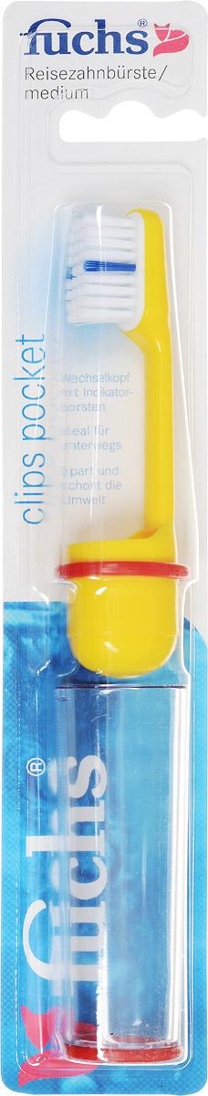 Fuchs Зубная щетка дорожная, цвет: желтый164520010_желтыйЗубная щетка Fuchs Clips Pocket - дорожная, средней жесткости