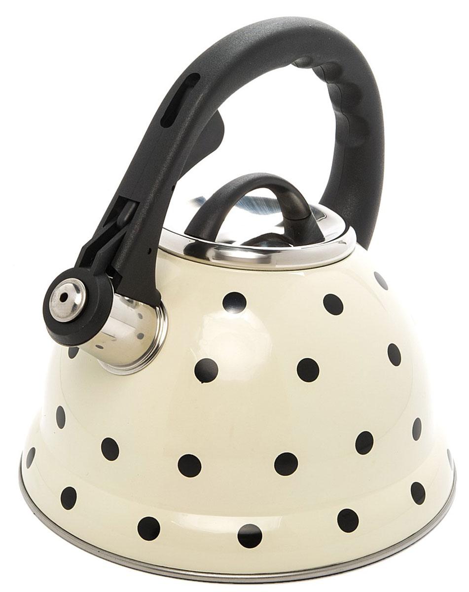 Чайник Mayer & Boch Горох, со свистком, цвет: белый, черный, серебристый, 2,8 л24976Чайник со свистком Mayer & Boch изготовлен из высококачественной нержавеющей стали, что обеспечивает долговечность использования. Носик чайника оснащен откидным свистком, звуковой сигнал которого подскажет, когда закипит вода. Свисток открывается нажатием кнопки на фиксированной ручке, сделанной из пластика. Чайник Mayer & Boch - качественное исполнение и стильное решение для вашей кухни. Подходит для всех типов плит, включая индукционные. Можно мыть в посудомоечной машине. Высота чайника (с учетом ручки и крышки): 24,5 см. Высота чайника (без учета ручки и крышки): 13 см. Диаметр чайника (по верхнему краю): 10 см. Диаметр основания: 22 см. Диаметр индукционного диска: 14,5 см.