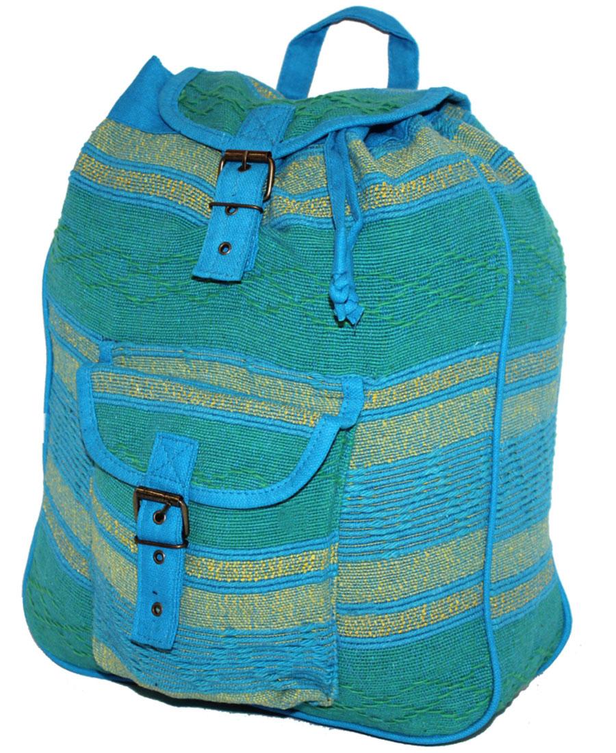 Сумка-рюкзак женская Ethnica, цвет: лазурный, мультиколор. 187250187250Женская сумка-рюкзак Ethnica изготовлена из качественного текстиля. Сумка имеет одно вместительное отделение и застегивается на металлическую пряжку. Внутри имеется основное отделение. Спереди сумка-рюкзак дополнена накладным карманом с клапаном. Сумка оснащена ручкой для переноски и двумя наплечными ремнями.
