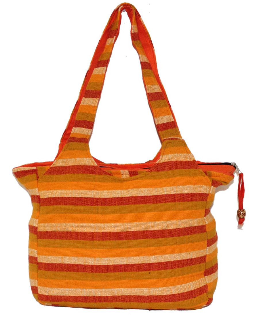 Сумка женская Ethnica, цвет: оранжевый. 113180113180Женская сумка Ethnica изготовлена из текстиля. Дополнена модель прочными удобными ручками и украшена принтом в полоску. Застегивается изделие на застежку-молнию.