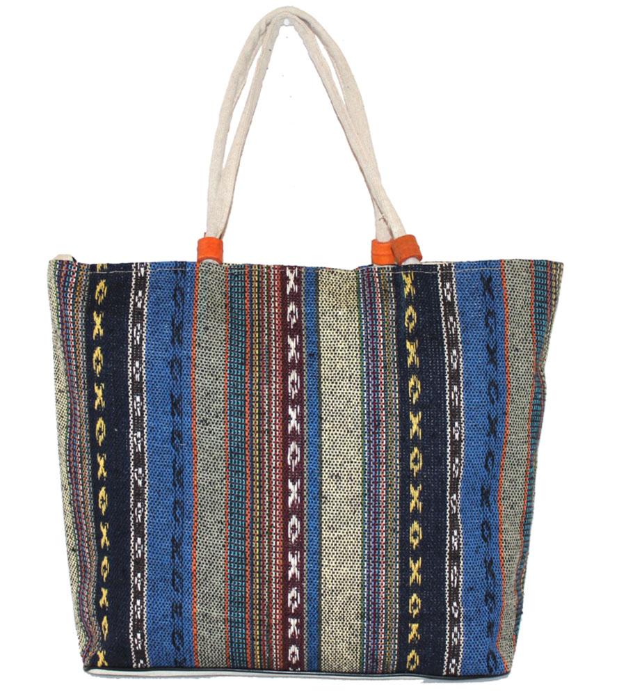 Сумка женская Ethnica, цвет: синий. 204150204150Женская сумка Ethnica изготовлена из текстиля. Дополнена модель прочными удобными ручками и украшена тонкой вышивкой. Застегивается изделие на застежку-молнию.