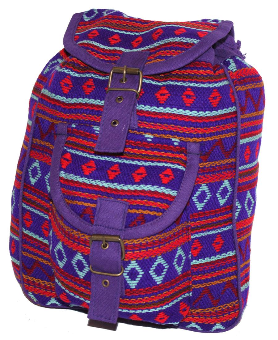 Сумка женская Ethnica, цвет: фиолетовый. 197180197180Женская сумка-рюкзак Ethnica изготовлена из качественного текстиля. Сумка имеет одно вместительное отделение и застегивается на металлическую пряжку. Внутри имеется основное отделение. Спереди сумка-рюкзак дополнена накладным карманом с клапаном. Сумка оснащена ручкой для переноски и двумя наплечными ремнями.