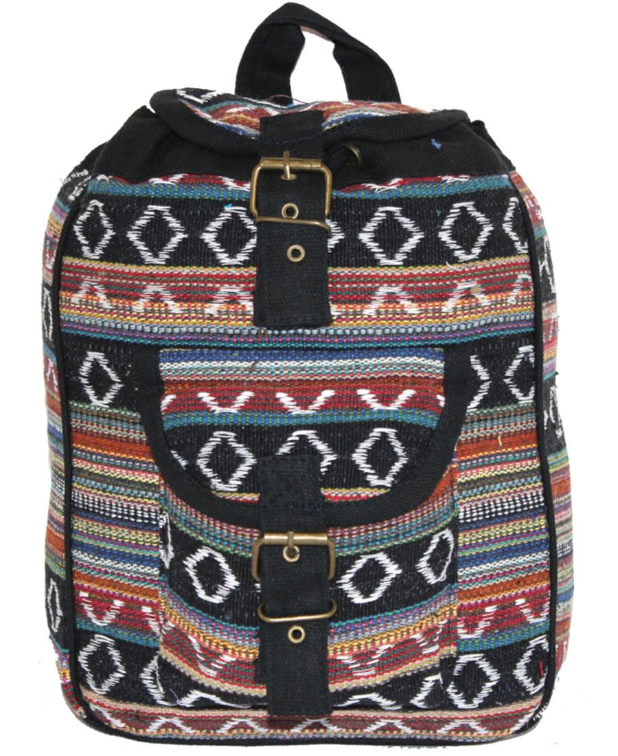 Сумка-рюкзак женская Ethnica, цвет: черный, терракотовый. 197180