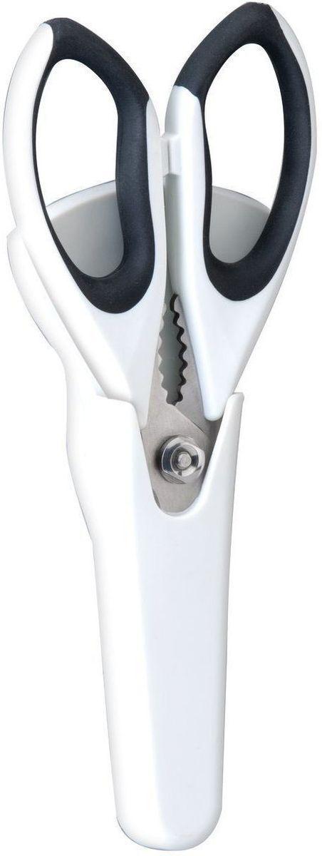 Ножницы кухонные BergHOFF, в чехле с магнитным держателем, цвет: черный, белый, длина лезвия 10 см2003039Ножницы BergHOFF выполнены из нержавеющей стали. Ручки изготовлены из полипропилена с вставками из термопластичной резины, что обеспечивает безопасность и удобство работы. Ножницы - необходимая вещь на вашей кухне. Измельчить зелень для салата, разделать тушку курицы или утки, вскрыть пакет с молоком, срезать плавники у рыбы - все это намного проще и быстрее сделать не ножом, а ножницами. В комплекте - специальный пластиковый чехол с магнитным держателем, которую можно разместить на холодильнике, что обеспечивает удобное хранение и безопасность. Рекомендуется мыть вручную. Длина ножниц: 24 см. Длина лезвия: 10 см. Размер чехла: 18,5 см х 9 см х 2 см.