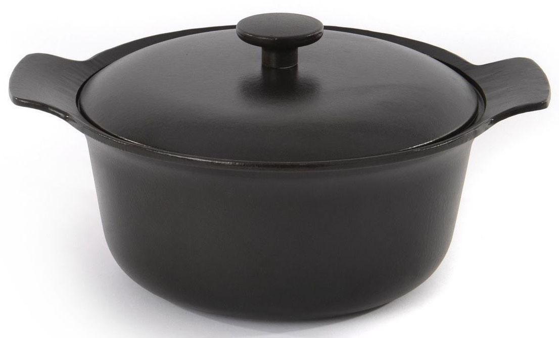 Кастрюля BergHOFF Ron, с крышкой, чугунная, овальная, 4,2 л, 24 см, цвет: черный. 39000403900040