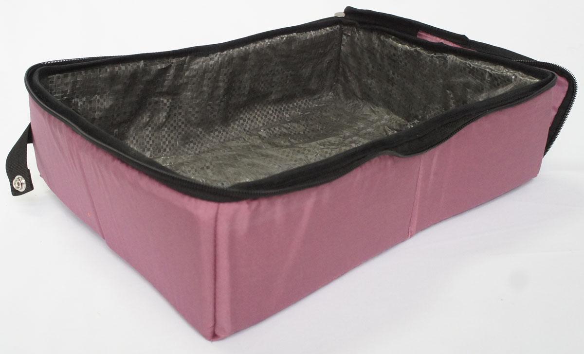 Лоток-туалет дорожный, складной Шоу-Петс, цвет: бордовый, 40 х 50 х 11 см. ЛДСБ3ЛДСБ3Дорожный складной лоток имеет крышку, которая по периметру застегивается на молнию и полностью исключает выпадение крошек наполнителя, а так же изолирует запах. Такой дорожный лоток удобно использовать в транспорте, на выставке, в отеле и на даче, лоток легко стирается в стиральной машине и быстро сохнет. Внутренний материал выполнен из специального ламинированного нейлона, что исключает возможность для животного зацепиться когтем при копании наполнителя в лотке. В сложенном виде лоток фиксируется специальной стропой на кнопку и практически не занимает место.