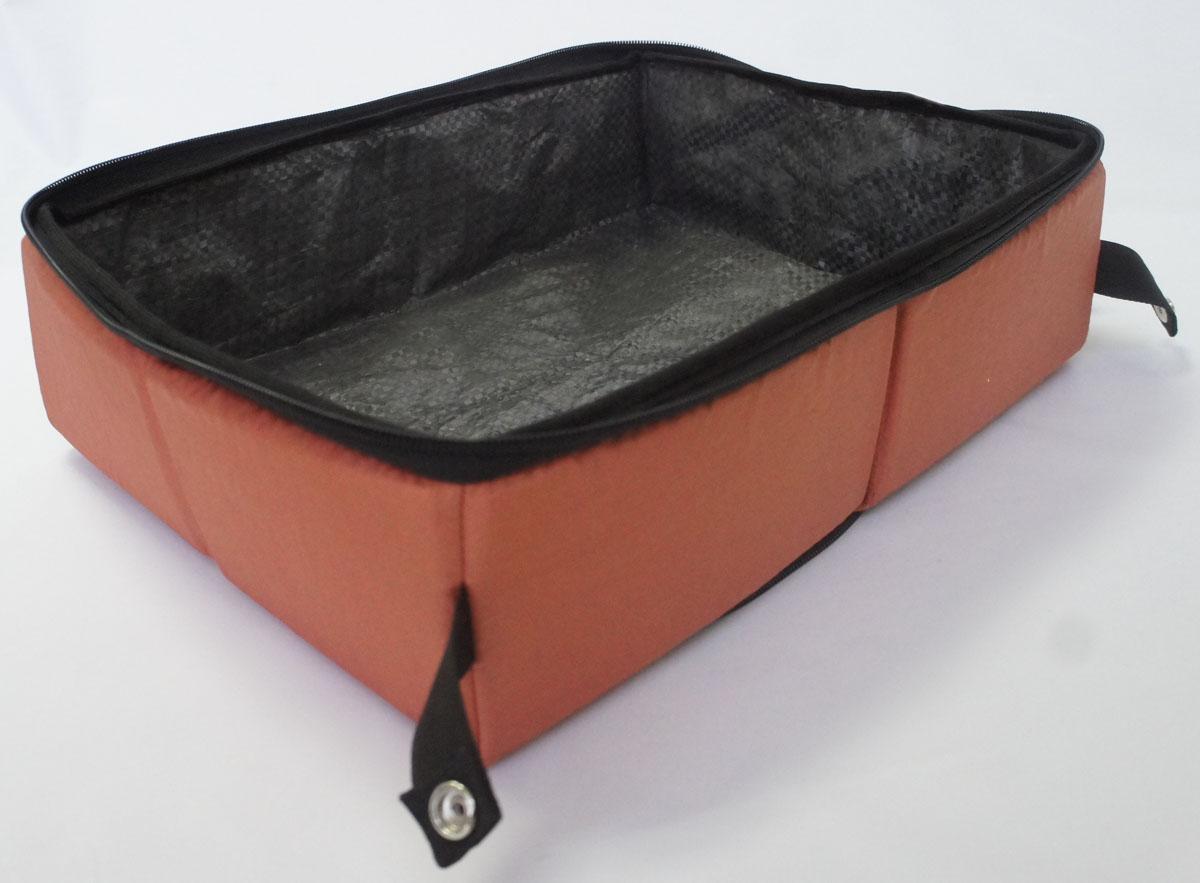 Лоток-туалет дорожный, складной Шоу-Петс, цвет: корица, 40 х 50 х 11 см. ЛДСК3ЛДСК3Дорожный складной лоток имеет крышку, которая по периметру застегивается на молнию и полностью исключает выпадение крошек наполнителя, а так же изолирует запах. Такой дорожный лоток удобно использовать в транспорте, на выставке, в отеле и на даче, лоток легко стирается в стиральной машине и быстро сохнет. Внутренний материал выполнен из специального ламинированного нейлона, что исключает возможность для животного зацепиться когтем при копании наполнителя в лотке. В сложенном виде лоток фиксируется специальной стропой на кнопку и практически не занимает место.