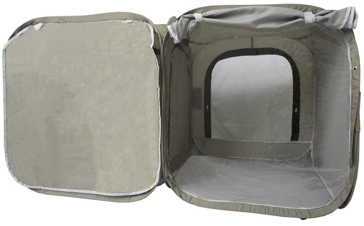 Палатка для выставки животных Шоу-Петс, цвет: хаки, 120 х 60 х 60 см. ПВЛ2ХПВЛ2ХПалатка разработана профессиональными заводчиками для тех, кто хочет перемещаться и выставляться со своими питомцами легко и комфортно: -двойная выставочная палатка для кошек состоит из двух отдельных секций 60х60х60 см, между собой разделены сплошной перегородкой из той же ткани, на молнии, с фиксатором бегунка.; - палатка - клетка подойдет для двух разных животных, которые плохо сидят вместе на выставке в одной палатке - клетке. Для животных, которые хорошо сидят вместе, из такой палатки - клетки можно сделать совершенно комфортное выставочное помещение: в одной комнате находятся животные, а во второй - столовая или туалет ( в зависимости от потребности), при этом у каждой секции имеется собственная шторка, которой она закрывается от нежелательных взглядов.; - при желании, палатку - клетку для выставок можно превратить в односекционную, для этого достаточно сложить в плоскость одну из секций; - в комплекте к палатке идут ремни для крепления к столу, а так же ими удобно фиксировать...