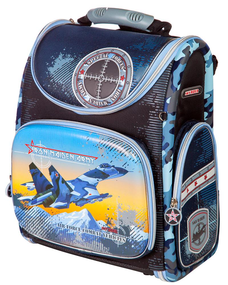 Ранец школьный Hummingbird Iron Maiden Army, цвет: тесно-синий, голубой. K75K75выполнен из современного пористого EVA материала, отличающегося легкостью и долговечностью. Изделие оформлено изображением самолета и дополнено брелоком в форме орденов, хлястики на бегунках молний выполнены в форме колес. Ранец имеет одно основное отделение, закрывающееся на молнию. Ранец полностью раскладывается. Внутри главного отделения расположены: накладной сетчатый карман, два накладных кармана с жесткими стенками и резинкой-фиксатором, два накладных пластиковых кармашка. Пластиковые кармашки предназначены для расписания уроков и для вкладыша с адресом и ФИО владельца(вкладыши для заполнения идут в комплекте). На лицевой стороне ранца расположен накладной карман на молнии, который содержит: пять накладных кармашков для письменных принадлежностей и мелочей (один из кармашков сетчатый на молнии), карабин для ключей и карман для телефона на липучке. По бокам ранца размещены два дополнительных накладных кармана на молниях. Рельеф спинки ранца разработан с учетом...