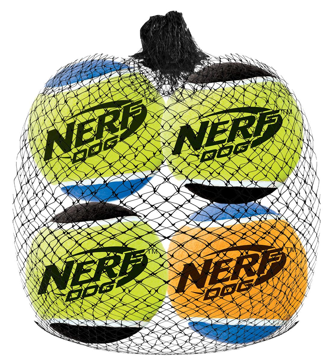 Игрушка для собак Nerf Мяч теннисный, пищащий, диаметр 4,5 см, 4 шт18630Мячи теннисные (4 шт.) из прочной высококачественной резины! Оснащены пищалкой! Яркие привлекательные цвета! Оптимальный вариант для игры с вашим питомцем! Игрушки Nerf Dog представлены в различных сериях в зависимости от рисунка, фактуры и материала, из которого они изготовлены (резина, ТПР, нейлон, пластик, каучук). Размер: 4,5 см, XS.