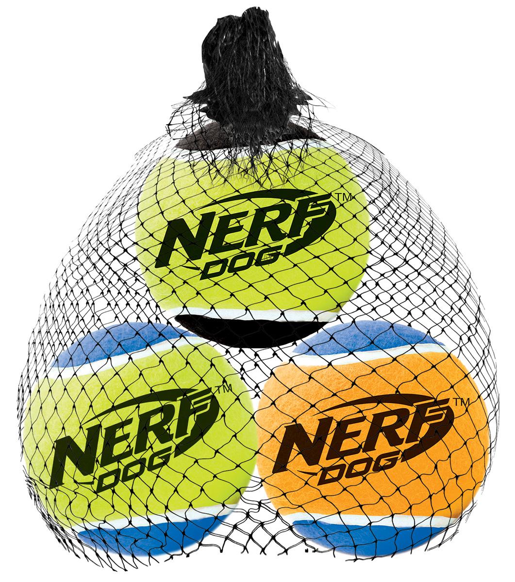 Игрушка для собак Nerf Мяч теннисный, пищащий, диаметр 6 см, 3 шт18654Мячи теннисные (3 шт.) из прочной высококачественной резины! Подходят для бластера NerfDog Tennis Ball Blaster Оснащены пищалкой! Яркие привлекательные цвета! Оптимальный вариант для игры с вашим питомцем! Игрушки Nerf Dog представлены в различных сериях в зависимости от рисунка, фактуры и материала, из которого они изготовлены (резина, ТПР, нейлон, пластик, каучук). Размер: 6 см, M.
