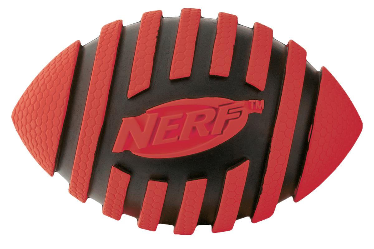Игрушка для собак Nerf Мяч для регби, пищащий, 12,5 см22224Мяч-регби с рельефным рисунком! Высококачественные прочные материалы, из которых изготовлена игрушка, обеспечивают долговечность использования! Звук мяча дополнительно увлекает собаку игрой! Яркие привлекательные цвета! Игрушки Nerf Dog представлены в различных сериях в зависимости от рисунка, фактуры и материала, из которого они изготовлены (резина, ТПР, нейлон, пластик, каучук). Размер: 12,5 см, M.