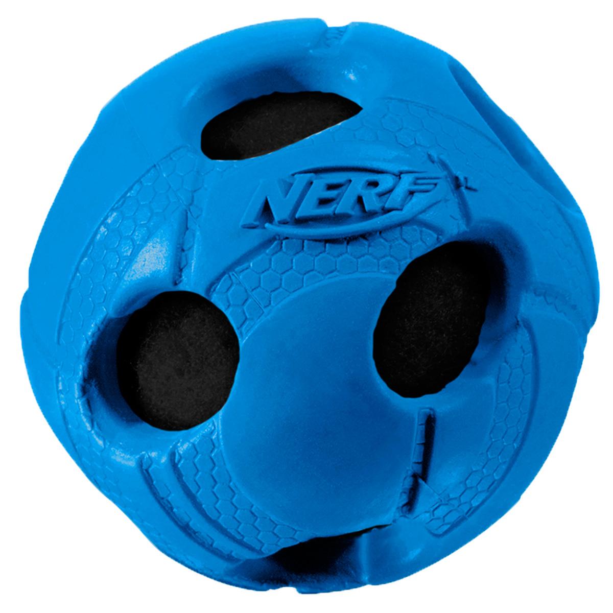 Игрушка для собак Nerf Мяч, с отверстиями, 7,5 см22286Мяч из прочной резины с теннисным мячем внутри! Высококачественные прочные материалы, из которых изготовлена игрушка, обеспечивают долговечность использования! Звук мяча дополнительно увлекает собаку игрой! Яркие привлекательные цвета! Рельефный рисунок! Игрушки Nerf Dog представлены в различных сериях в зависимости от рисунка, фактуры и материала, из которого они изготовлены (резина, ТПР, нейлон, пластик, каучук). Размер: 7,5 см, M.