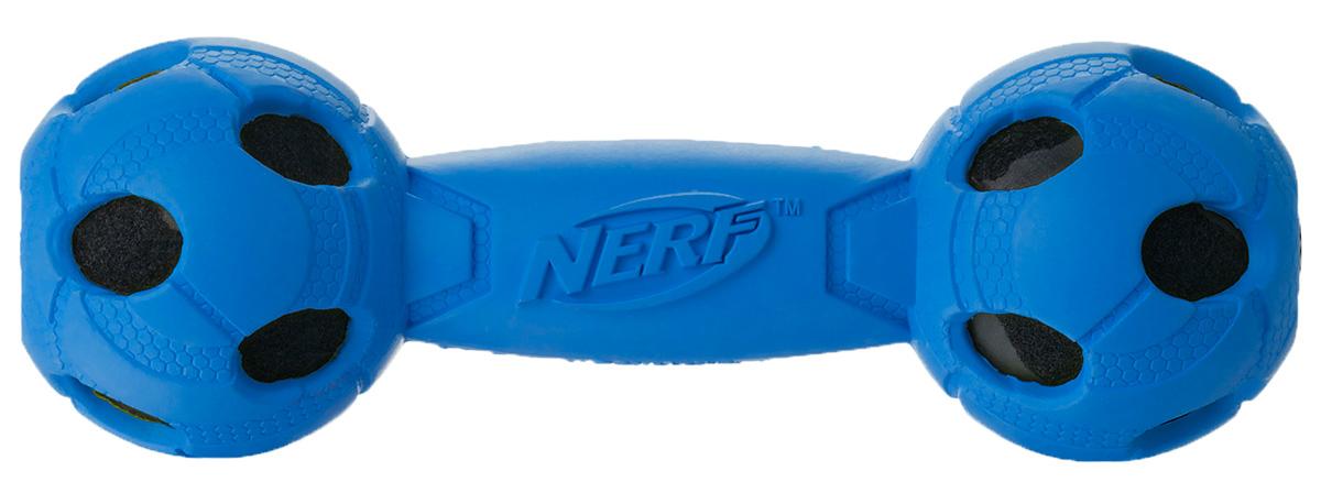 Игрушка для собак Nerf Гантель, с отверстиями, 17,5 см22309Гантель из прочной резины с теннисными мячами внутри! Высококачественные прочные материалы, из которых изготовлена игрушка, обеспечивают долговечность использования! Звук мяча дополнительно увлекает собаку игрой! Яркие привлекательные цвета! Рельефный рисунок! Игрушки Nerf Dog представлены в различных сериях в зависимости от рисунка, фактуры и материала, из которого они изготовлены (резина, ТПР, нейлон, пластик, каучук). Размер: 17,5 см, M.
