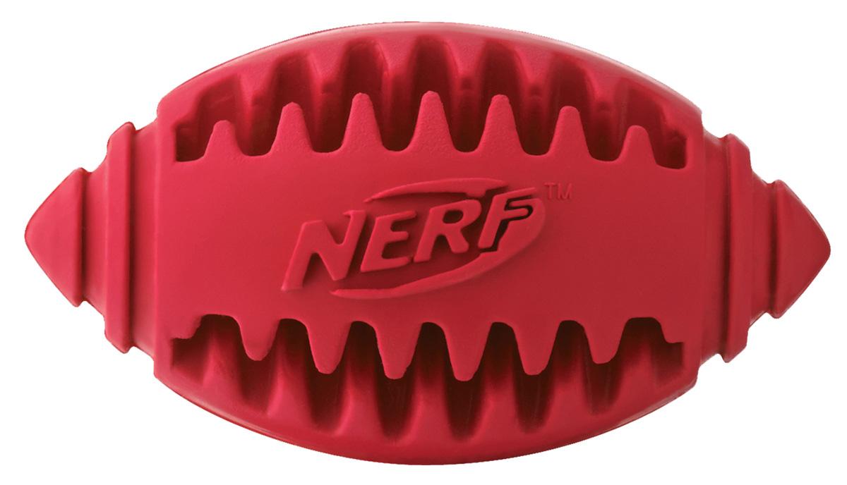 Игрушка для собак Nerf Мяч для регби, рифленый, 8 см22354Мяч-регби из сверхпрочной резины для удовлетворения жевательных инстинктов вашего питомца! Оптимален для игры с собакой дома и на свежем воздухе! Подходит собакам с самой мощной челюстью! Высококачественные прочные материалы, из которых изготовлена игрушка, обеспечивают долговечность использования! В выемки возможно поместить любимые лакомства вашего питомца для большей заинтересованности в игре и для усиления охотничьего инстинкта! Яркие привлекательные цвета! Игрушки Nerf Dog представлены в различных сериях в зависимости от рисунка, фактуры и материала, из которого они изготовлены (резина, ТПР, нейлон, пластик, каучук). Размер: 8 см, S.