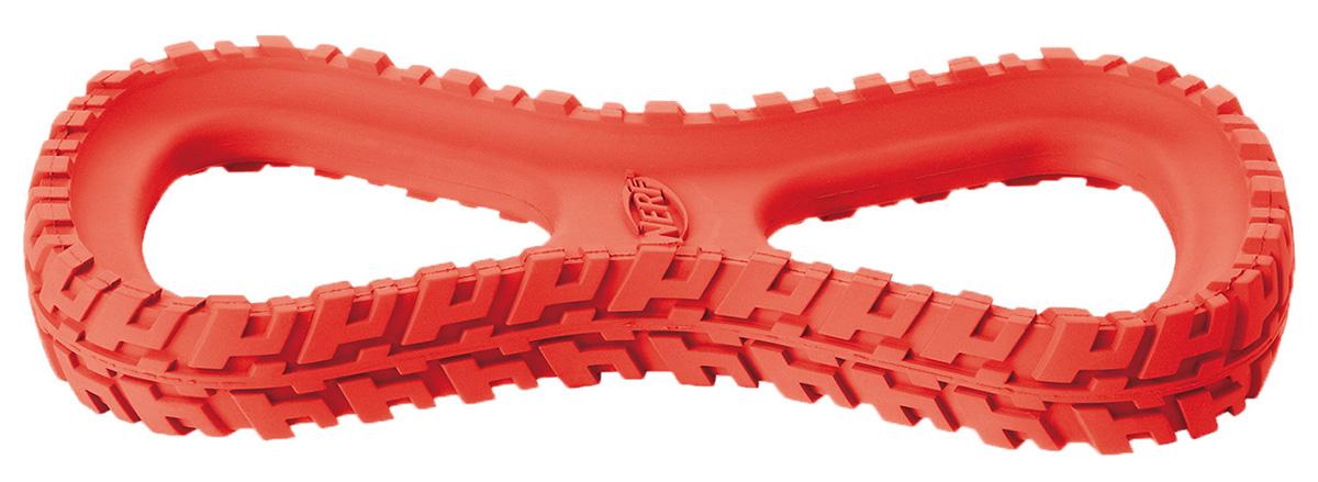 Игрушка для собак Nerf Шина-восьмерка, 25 см22521Шина из сверхпрочной резины с нейлоновой ручкой! Подходит для собак с самой мощной челюстью! Высококачественные прочные материалы, из которых изготовлена игрушка, обеспечивают долговечность использования! Оптимальна для перетягивания, подходит для игры двух собак! Яркие привлекательные цвета! Игрушки Nerf Dog представлены в различных сериях в зависимости от рисунка, фактуры и материала, из которого они изготовлены (резина, ТПР, нейлон, пластик, каучук).