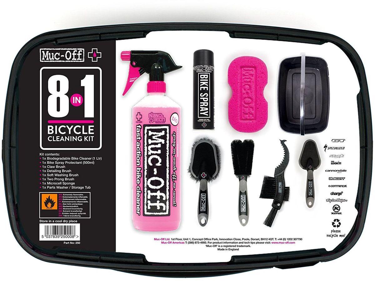 Набор Muc-Off Bike Cleaning Kit, 8 предметов250Набор Muc-Off 8-In-One Bike Cleaning Kit оснащен всем необходимым для поддержки вашего велосипеда в чистоте и порядке, поможет решить наиболее раздражающие проблемы в чистке. Подойдет для любого велосипеда и стиля, будь то шоссе, горный или городской велосипед. Такой комплект может стать отличным подарком. В комплект входят: -Очиститель Nano Tech Bike Cleaner -Аэрозоль Bike Spray -Губка -Щетка Soft Washing Brush, для общей мойки -Щетка Detail Brush, для мелких деталей -Щетка Claw Brush, для кассеты и цепи -Щетка Two Prong Brush, двухваликовая -Ведро.