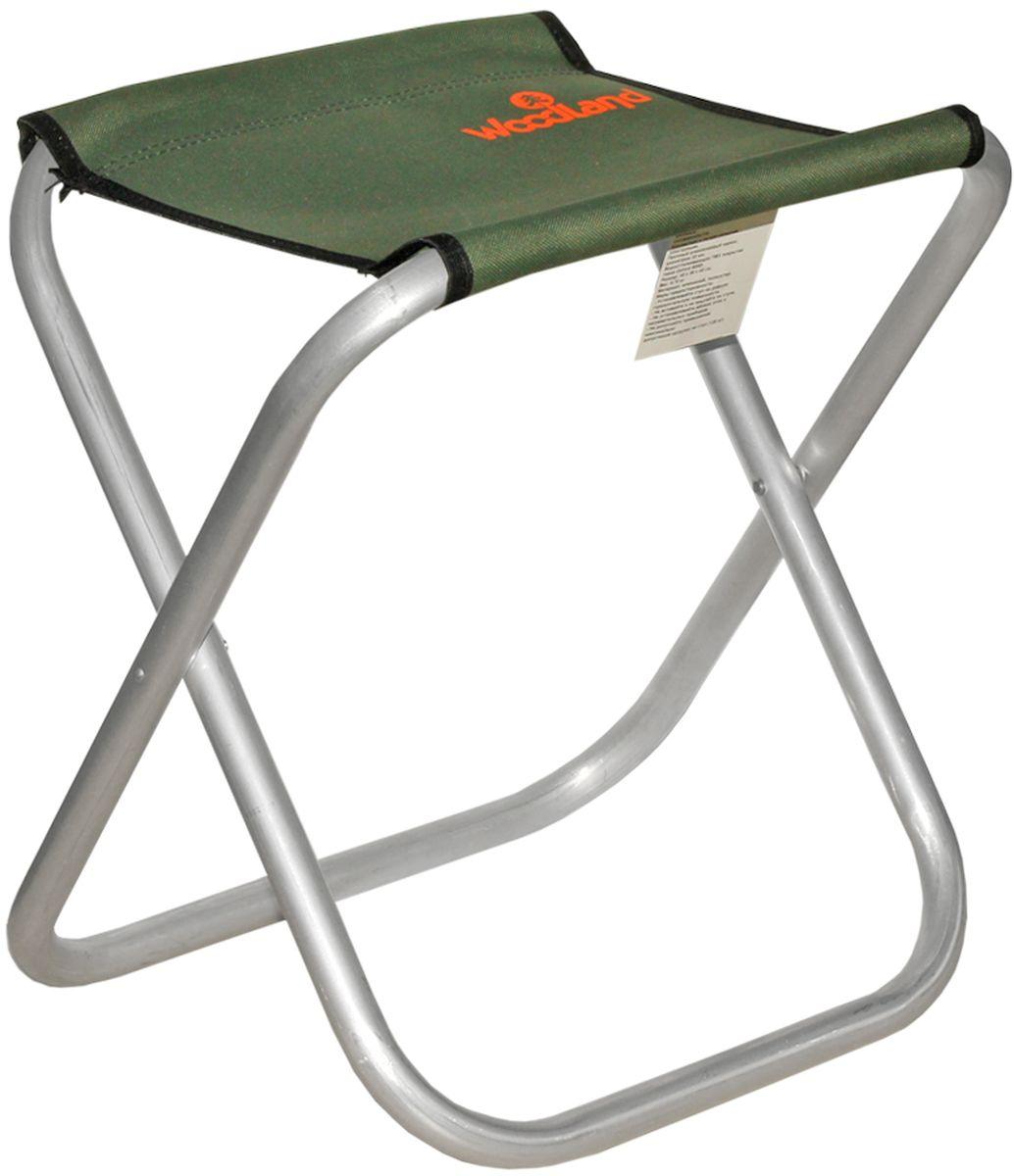 Стул Woodland Compact ALU, цвет: оливковый, стальной, 40 x 30 х 40 см0062397Прочный алюминиевый каркас диаметром 22 мм. Водоотталкивающее ПВХ покрытие ткани Oxford 600D. Максимально допустимая нагрузка: 120 кг