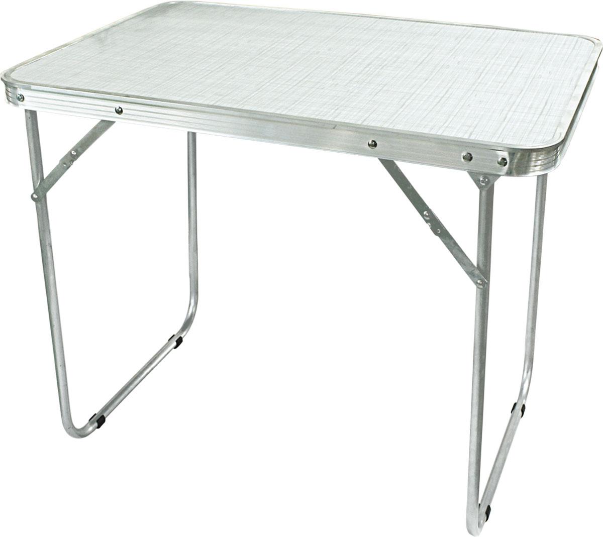 Стол складной Woodland Camping Table Light, цвет: белый, стальной, 70 x 50 x 60 см0063242Профиль: алюминий. Труба: алюминий, 16 х 1 мм. Столешница: ХДФ. Компактная складная конструкция. Прочный алюминий каркас. Материал столешницы - ХДФ. Максимально допустимая нагрузка: 20 кг.