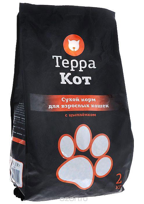 Сухой корм Терра Кот для взрослых кошек, с цыпленком, 2 кг00-00000399Сухой корм Терра Кот - это полноценное сбалансированное питание для взрослых кошек, разработанное с использованием современных технологий. Сухой корм Терра Кот обеспечивает: крепкие кости и зубы; энергетический баланс; поддержку иммунитета; питание сердца; здоровую шерсть и кожу; витамины; отличное зрение; развитую мускулатуру; защиту ЖКТ. Характеристики: Состав: злаки, мясо и продукты животного происхождения, пшеничные отруби, экстракт белка растительного происхождения, подсолнечное масло, минеральные добавки, пульпа сахарной свеклы (жом), витамины, пивные дрожжи, витамины, антиоксидант, таурин. Содержание питательных веществ: влажность 9%, протеин 27%, жир 10%, зола 7,5%, клетчатка 3%, кальций 1,3%, фосфор 1,2%. Витаминов: А 5000 МЕ/кг, D3 500 МЕ/кг, Е 30 МЕ/кг. Энергетическая ценность: 345 ккал/100 г. Вес: 2 кг. Артикул: 00-00000399.