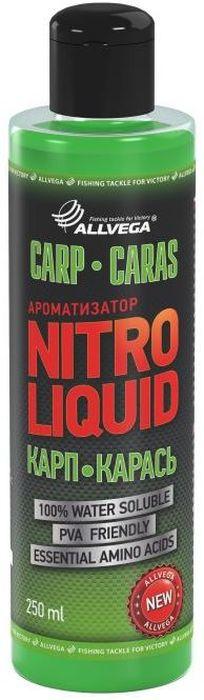 Ароматизатор жидкий для рыбалки ALLVEGA Nitro Liquid Carp Caras, карп, карась, 250 мл0057675Универсальный, ароматизированный комплекс для привлечения карпа и карася.