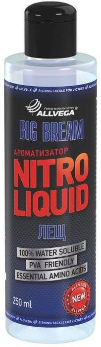 Ароматизатор жидкий для рыбалки ALLVEGA Nitro Liquid Big Bream, лещ, 250 мл0057676Эта добавка напоминает запах печенья и карамели. Идеальное сочетание для ловли леща в различных условиях.