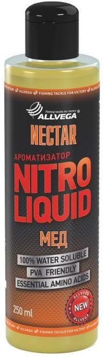 Ароматизатор жидкий для рыбалки ALLVEGA Nitro Liquid Nectar, мед, 250 мл0057677Ароматизированный комплекс с выраженным медовым ароматом. Отличная универсальная добавка для ловли различных карповых рыб.