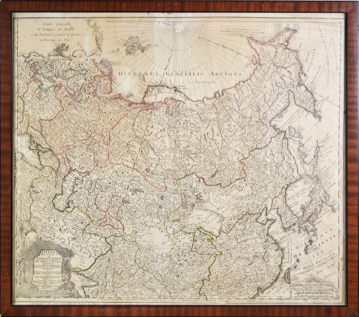 Географическая карта России Imperii Russici et Tatariae Universae, Johann Matthias Hase. Гравюра с ручной подкраской. Нюрнберг, Германия, 1739 год