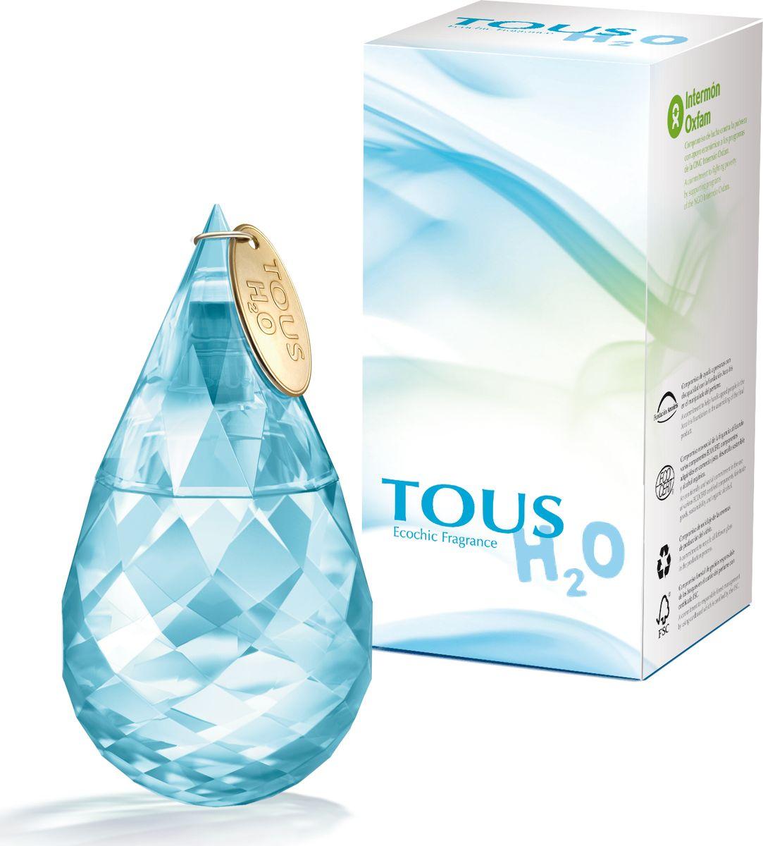 Tous H20 Туалетная вода 50 мл771051Парфюмерная композиция Tous H2O как будто вобрала в себя свежесть прохладного ручья и аромат цветущего сада, на лепестках роз которого капли росы поутру напоминают бриллианты.