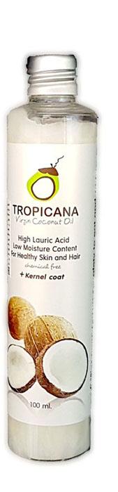 Кокосовое масло холодного отжима Tropicana, 100 млС17065/02Кокосовое масло холодного (первого) отжима Tropicana Oil Virgin Coconut идеально подходит для ежедневного использования. Производится из лучших пород кокоса, растущих в южной части Таиланда, с помощью холодного прессования и отжима мякоти кокоса и внутренней оболочки ядра. Золотисто-желтое кокосовое масло насыщено питательными веществами полезными для здоровья кожи и волос, такими как: витамины группы В, Е, С, Н, клетчаткой, микро- и макроэлементами: калий, кальций, йод, марганец, фосфор, медь. В составе кокоса выделяют лауриновую кислоту, которая обладает подтягивающими и омолаживающими свойствами, борется с угревой болезнью.