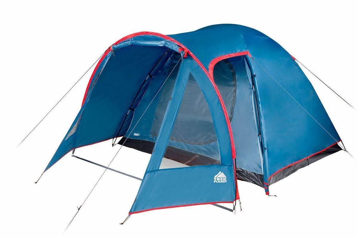 Палатка четырехместная Trek Planet Texas 4, цвет: синий, красный70117Четырехместная кемпинговая высокая палатка Trek Planet Texas 4 с хорошей вентиляцией и большим и светлым тамбуром с дополнительным входом и обзорными окнами, хорошо подойдет для кемпинга выходного дня или отдыха на природе с семьей. В тамбуре легко разместятся кемпинговый стол и стулья. Самая доступная среди больших кемпинговых палаток! Особенности модели: Простая и быстрая установка, Тент палатки из полиэстера с пропиткой PU, надежно защитит от дождя и ветра, Все швы проклеены, Просторный и высокий тамбур с двумя входами, Большие обзорные окна со шторками в тамбуре, Два больших вентиляционных окна, Каркас выполнен из прочного стеклопластика, Дно из прочного водонепроницаемого армированного полиэтилена позволяет устанавливать палатку на жесткой траве, песчаной поверхности, глине и т.д. Внутренняя палатка, выполненная из дышащего полиэстера, обеспечивает вентиляцию помещения и позволяет конденсату испаряться, не проникая внутрь...