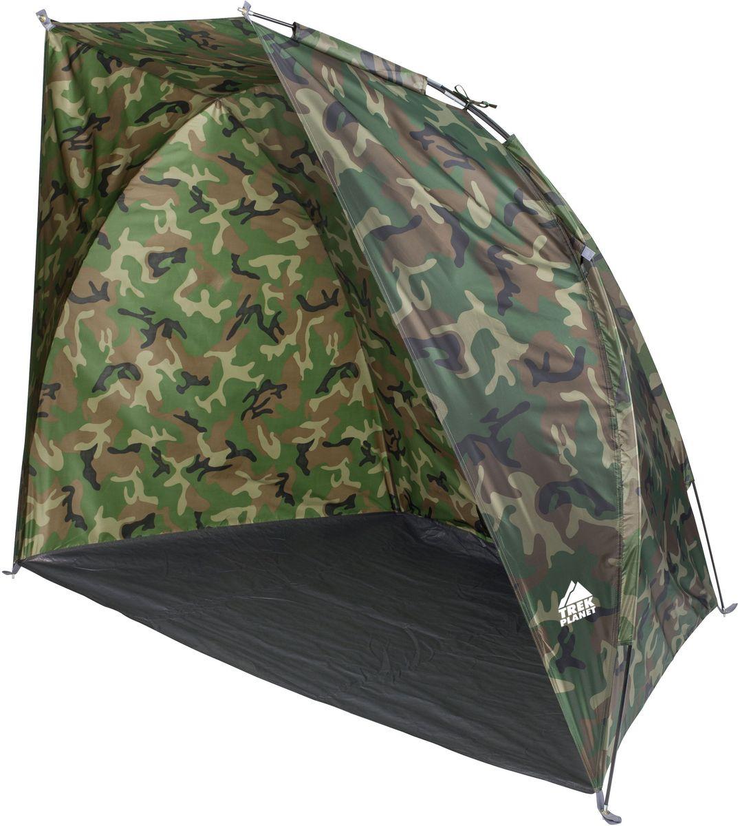 Тент Trek Planet Fish Tent 2, цвет: камуфляж70139Камуфляжный тент Trek Planet Fish Tent 2, обеспечивает защиту от солнца и ветра и небольших осадков - идеально подойдет для любителей рыбалки или охоты. Внутри легко помещаются два кемпинговых стула. Очень прост в установке, имеет малый вес и удобный чехол с ручкой для переноски. Особенности модели: Простая и быстрая установка, Тент шатра из полиэстера, с пропиткой PU, за которым удобно укрыться от палящего солнца, ветра или небольших осадков, Каркас выполнен из прочного стеклопластика, Дно изготовлено из прочного армированного полиэтилена, Растяжки и колышки в комплекте. Характеристики: Количество мест: 2 Цвет: камуфляж. Размер: 200 см х 115 см х 150 см. Размер в сложенном виде: 10 см х 10 см х 65 см. Материал внешнего тента: 100% полиэстер, пропитка PU. Водостойкость: 1000 мм. Материал пола: 100% армированный полиэтилен. Материл дуги: стекловолокно 7,9 мм. Вес палатки: 1,3 кг.