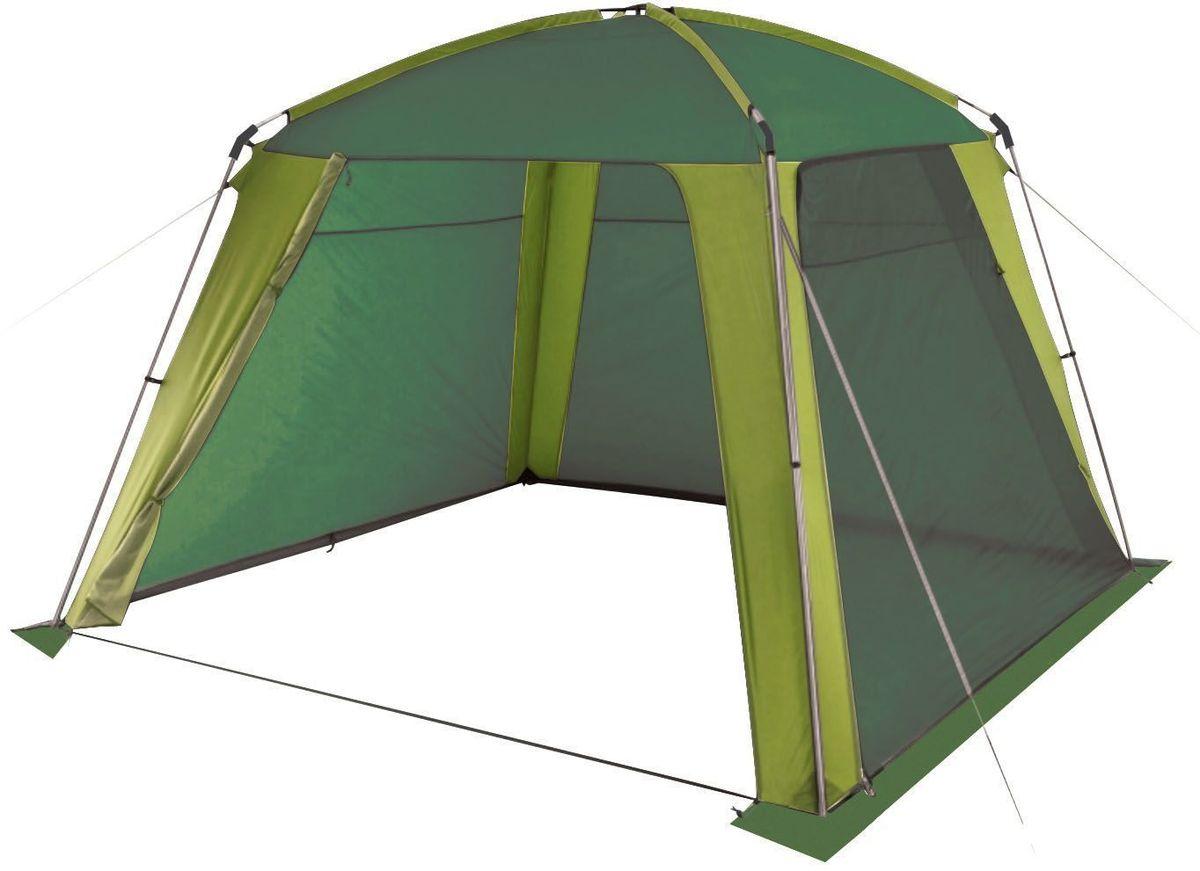 Шатер-тент Trek Planet Rain Dome Green, 320 х 320 х 210 см, цвет: зеленый, светло-зеленый70262Универсальный шатер четырехугольной формы Trek Planet Rain Dome Green отлично подойдет как для дачи, в качестве беседки или полевого навеса, так и для кемпинга. Две стороны из полиэстера надежно защищают от ветра и дождя, две другие стороны из москитной сетки позволяют шатру отлично проветриваться, Особенности шатра: Легко собирается и разбирается, Устойчив на ветру, Две стороны шатра из полиэстера, с пропиткой PU водостойкостью 2000 мм надежно защищают от ветра и дождя, Все швы проклеены, Две другие стороны из москитной сетки позволяют шатру отлично проветриваться, защищая от насекомых. Двери из москитной сетки в полный размер стороны с молнией по периметру, удобно сворачиваются на сторону. Каркас: боковые стойки из стали, потолочные дуги из прочного стеклопластика, Прочные и удобные адаптеры для соединения потолочных дуг со стойками, Два входа в шатер, Защитным полог по всему периметру защищает от ветра, дождя и насекомых, ...