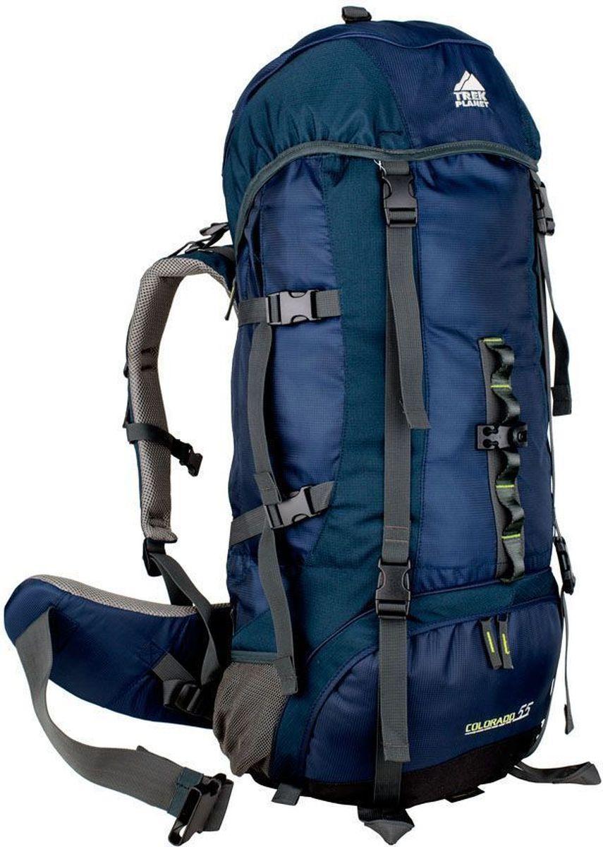 Рюкзак туристический Trek Planet Colorado 55, 55 л, цвет: синий, темно-синий70551Практичный туристический рюкзак Trek Planet COLORADO 55 станет отличным выбором для любителей походов и кемпингов. Анатомическая вентилируемая спина обеспечивает максимальный комфорт и стабилизацию рюкзака на спине. Оптимальное распределение нагрузки выполняет регулируемая система жесткой подвески V1. Объем рюкзака регулируется вертикальными и горизонтальными стропами. Дополнительный вход в нижнее отделение и два глубоких кармана на молнии по бокам. Особенности рюкзака: 2 глубоких кармана на молнии по бокам, 2 боковых сетчатых кармана на резинке, Карман на поясном ремне, Дополнительные лямки внизу для крепления снаряжения, 2 кармана в верхнем клапане, Дополнительный вход в нижнее отделение Компрессионные ремни. Съемный чехол от дождя. ХАРАКТЕРИСТИКИ: Объем рюкзака: 55 л. Материал: полиамид. Вес: 2000г. Цвет: синий. Артикул: 70551.