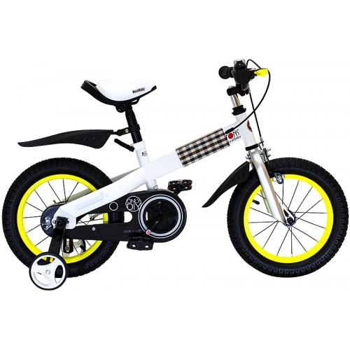 Велосипед детский Royal Baby Buttons Steel 14, цвет: желтыйRB14B-7 ЖелтыйВелосипед предназначен для детей от 3 до 5 лет; рекомендованный рост ребенка: 105-130 см; подходит для езды по городским улицам, парковым зонам и пересеченной местности; легко преодолевает высокую траву и песок; комфортное сиденье эргономичной формы можно отрегулировать в зависимости от роста ребенка; удобный руль с не скользящими ручками регулируется по высоте; на руле расположен надежный двойной тормоз на переднее колесо, который приводится в действие руками; размер рамы велосипеда составляет 9 дюймов; высококачественная стальная рама с надежными и ровными сварочными узлами; безопасная, гипоаллергенная и не токсичная краска покрывает всю раму; на раме расположен стильный декоративный элемент из плотной ткани с кнопками; нескользящие рифленые педали оснащены светоотражающими катафотами, которые позволяют дополнительно обезопасить вашего малыша во время катания; оснащен надежной алюминиевой вилкой; цепь надежно...