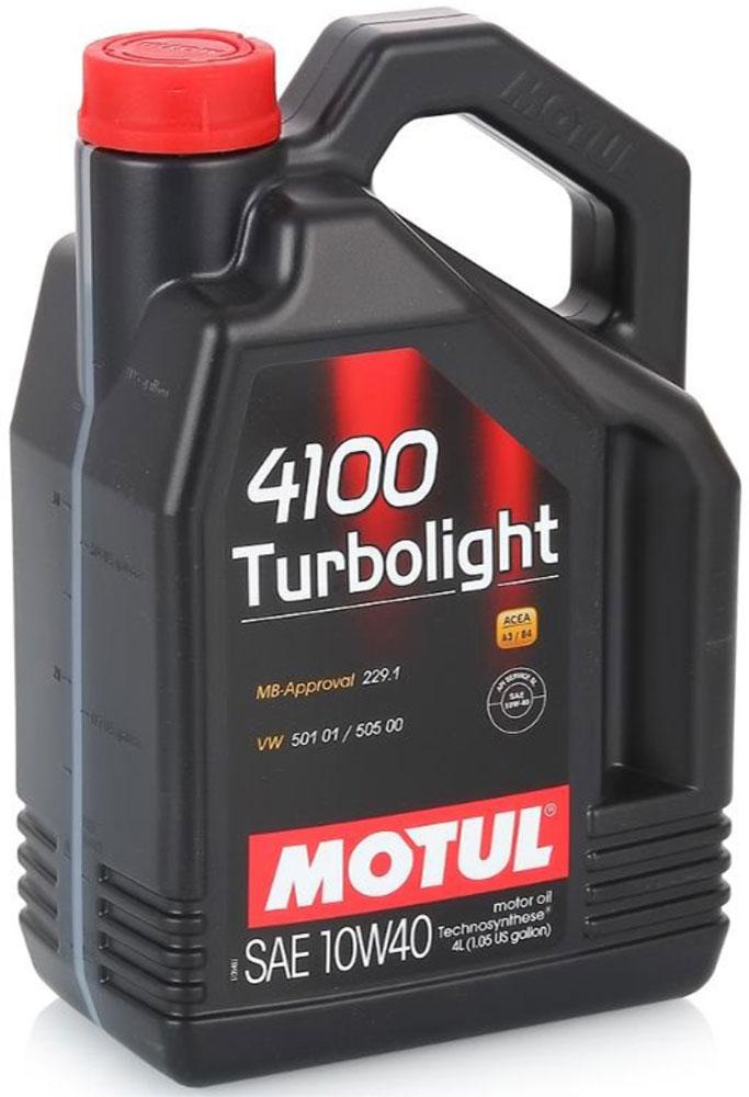 Масло моторное Motul 4100 Turbolight. Technosynthese, синтетическое, 10W-40, 4 л100355Моторное масло для бензиновых и дизельных двигателей Technosynthese. Разработано специально для мощных двигателей. Подходит для всех бензиновых и дизельных двигателей: карбюраторных, впрысковых, атмосферных или турбированных, многоклапанных, с каталитическим конвертором или без. Совместимо со всеми видами топлива: бензин, дизельное и газовое топливо. ACEA Стандарты: ACEA A3/B4 API Стандарты: API SM/CF Одобрения: MB-Approval 229.1; PSA B71 2300; RENAULT RN0700; VW 501 01/505 00