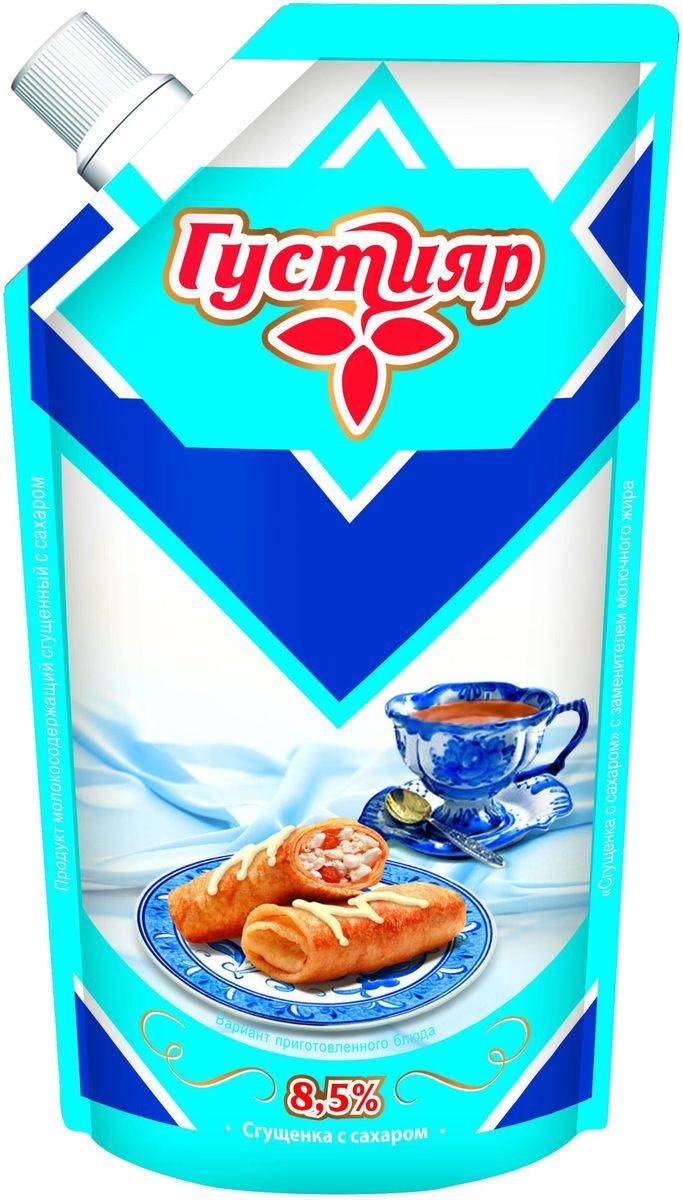 Молоко сгущенное с сахаром Густияр 8.5%. Продукт пригоден для непосредственного принятия в пищу, применяется для приготовления кондитерских изделий. Вкус и запах сладкий, с четким выраженным вкусом пастерилизованного молока. Пищевая ценность на 100 г продукта: жира - 8.5 г, белков - 5 г, углеводов - 56 г. Энергетическая ценность - 320.5 Ккал.