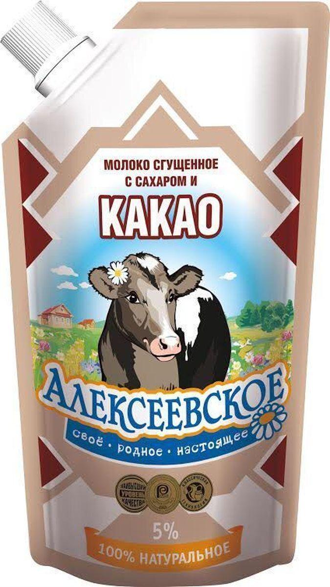 Молоко сгущенное с сахаром и какао 5% Алексеевское - любимый с детства продукт изготовлен по классической рецептуре из натуральных продуктов высшего качества. Имеет приятный насыщенный вкус и густую консистенцию. Пищевая ценность на 100 г продукта: жира - 5 г, белка - 6.6 г, углеводов - 53.4 г