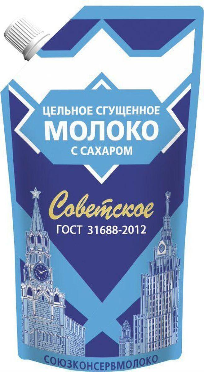 Молоко цельное сгущенное 8.5% 270 г Советское, подходит для добавления в чай, кофе, изготовление кондитерских изделий. Сладкий вкус, с выраженным вкусом пастерилизовонного молока. Пищевая ценность на 100 г продукта: жира - 8.5 г, белка - 7.2 г, углеводов - 56 г. Энергетическая ценность - 329 Ккал.