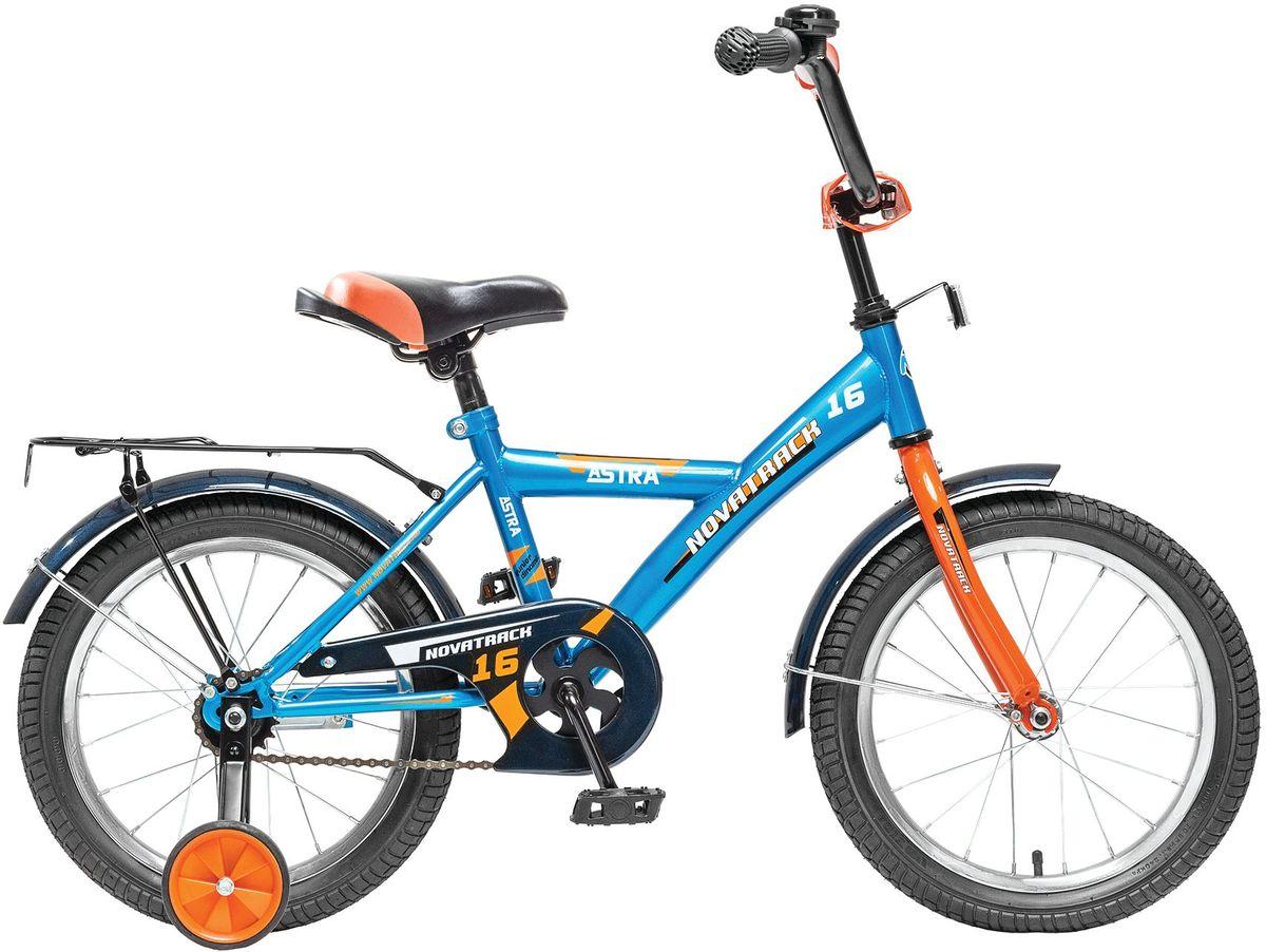 Велосипед детский Novatrack Astra, цвет: синий, 16163ASTRA.BL5Хотите, чтобы ваш ребенок играя укреплял здоровье? Тогда ему нужен удобный и надежный велосипед Novatrack Astra 16'', рассчитанный на ребят 5-7 лет. Одного взгляда ребенка хватит, чтобы раз и навсегда влюбиться в свой новенький двухколесный транспорт, который в принципе, сначала можно назвать и четырехколесным. Дополнительную устойчивость железному «коню» обеспечивают два маленьких съемных колеса в цвет велосипеда. Astra собрана на базе рамы с универсальной геометрией, которая позволяет легко взобраться или слезть с велосипеда, при этом он имеет такой вес, что ребенок сам легко справляется со своим транспортным средством. Еще один элемент безопасности – это защита цепи, которая оберегает одежду и ноги ребенка от попадания в механизм. Стильные крылья защитят от грязи и брызг, а на багажнике ребенок сможет перевозить массу полезных в дороге вещей. Данная модель маневренна и легко управляется, поэтому ребенку будет несложно и интересно учиться езде.