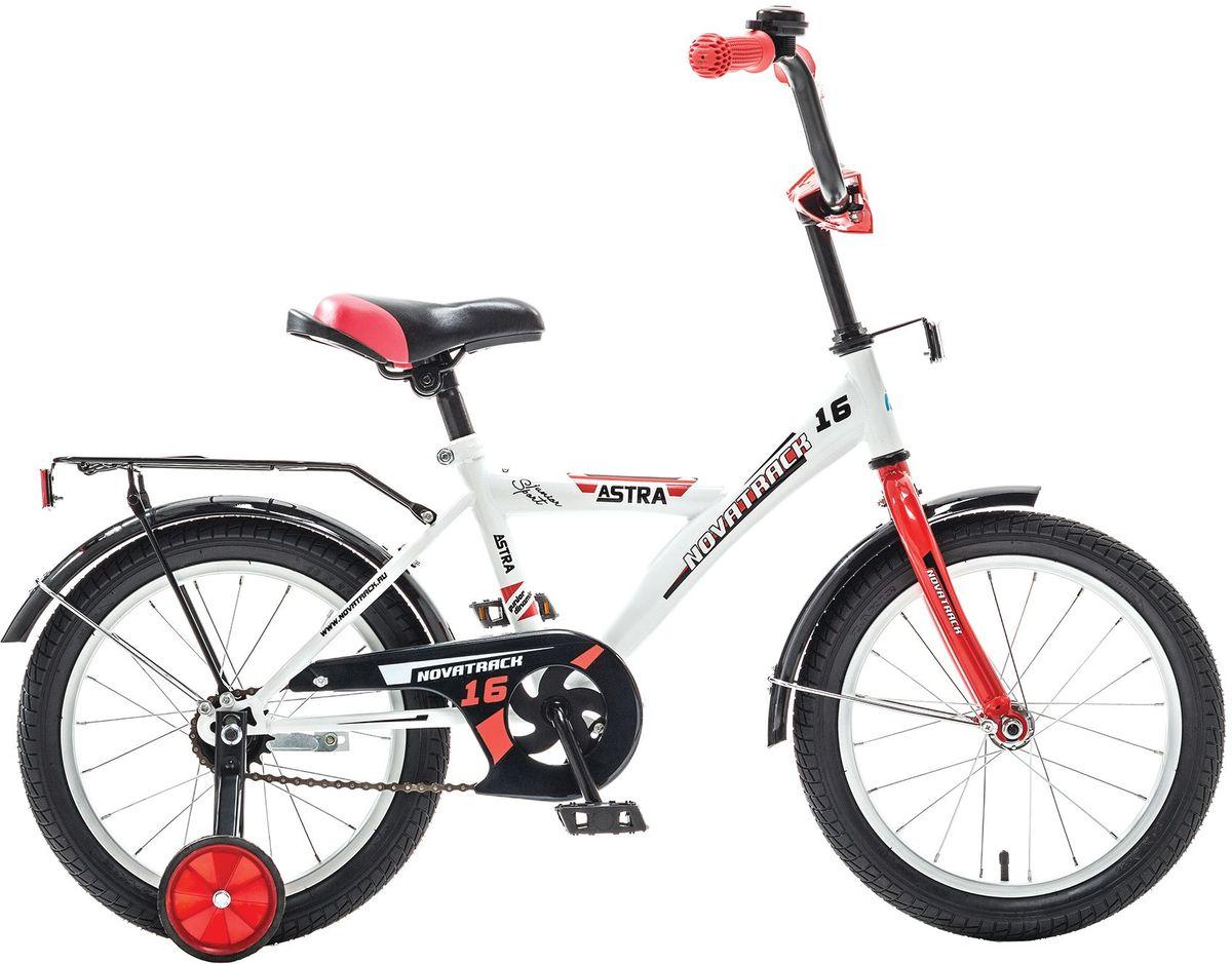 Велосипед детский Novatrack Astra, цвет: белый, 16163ASTRA.WT5Хотите, чтобы ваш ребенок играя укреплял здоровье? Тогда ему нужен удобный и надежный велосипед Novatrack Astra 16'', рассчитанный на ребят 5-7 лет. Одного взгляда ребенка хватит, чтобы раз и навсегда влюбиться в свой новенький двухколесный транспорт, который в принципе, сначала можно назвать и четырехколесным. Дополнительную устойчивость железному «коню» обеспечивают два маленьких съемных колеса в цвет велосипеда. Astra собрана на базе рамы с универсальной геометрией, которая позволяет легко взобраться или слезть с велосипеда, при этом он имеет такой вес, что ребенок сам легко справляется со своим транспортным средством. Еще один элемент безопасности – это защита цепи, которая оберегает одежду и ноги ребенка от попадания в механизм. Стильные крылья защитят от грязи и брызг, а на багажнике ребенок сможет перевозить массу полезных в дороге вещей. Данная модель маневренна и легко управляется, поэтому ребенку будет несложно и интересно учиться езде.