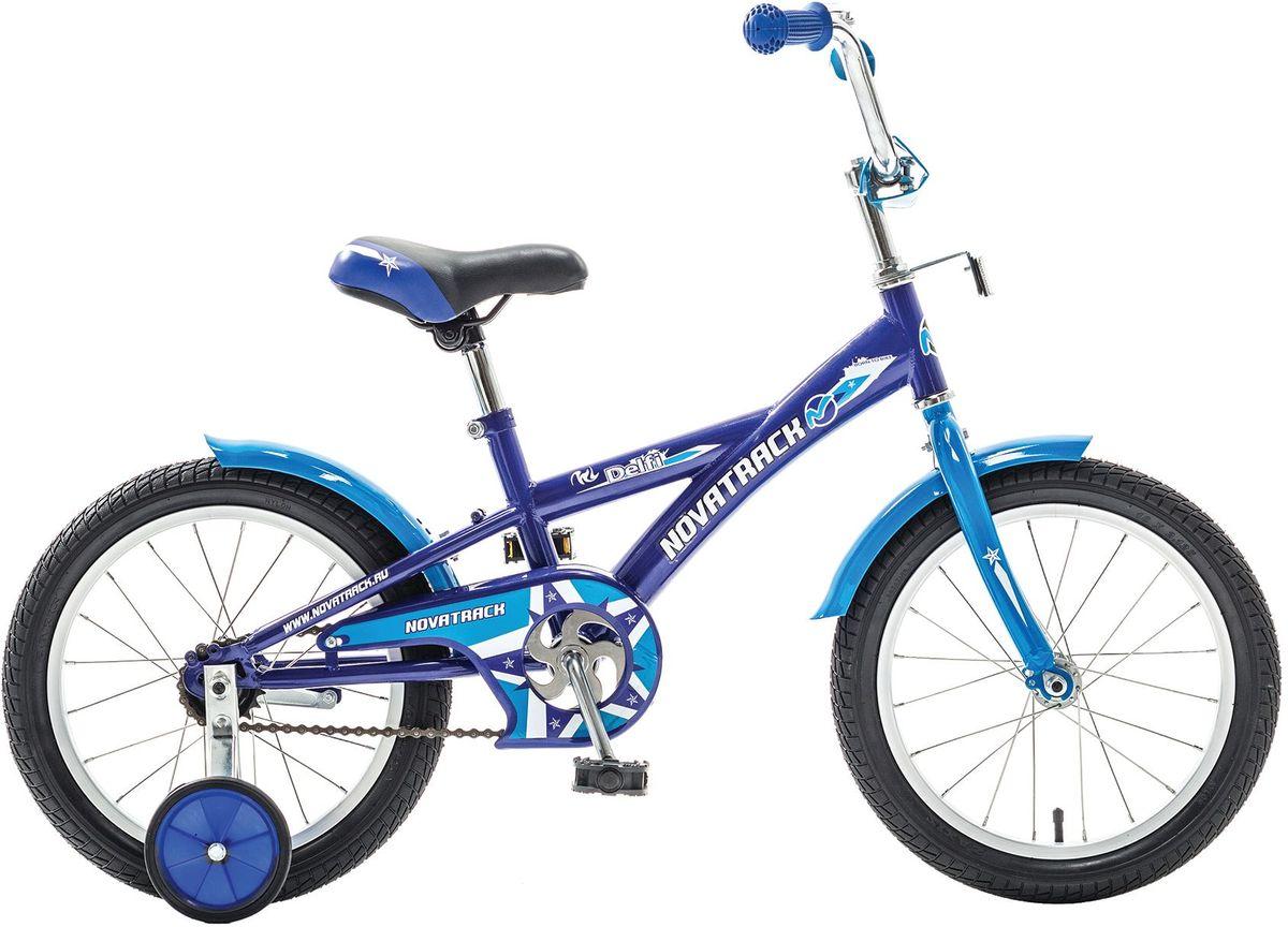 Велосипед детский Novatrack Delfi, цвет: синий, 16163DELFI.BL5Велосипед Novatrack Delfi c 16-дюймовыми колесами – это надежный велосипед для ребят от 5 до 7 лет. Привлекательный дизайн, надежная сборка, легкость и отличная управляемость – это еще не все плюсы данной модели. Цепь закрыта декоративной накладкой, которая защитит одежду и ноги ребенка от попадания в механизм. Данная модель специально разработана для легкого обучения езде на велосипеде. Низкая рама позволит ребенку быстро взбираться и слезать с велосипеда. Колеса закрыты крыльями, которые защитят ребенка от брызг. Велосипед оснащен дополнительными колесами, которые легко регулируются и снимаются в случае необходимости.
