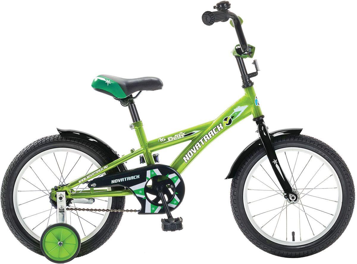Велосипед детский Novatrack Delfi, цвет: зеленый, 16163DELFI.GN5Велосипед Novatrack Delfi c 16-дюймовыми колесами – это надежный велосипед для ребят от 5 до 7 лет. Привлекательный дизайн, надежная сборка, легкость и отличная управляемость – это еще не все плюсы данной модели. Цепь закрыта декоративной накладкой, которая защитит одежду и ноги ребенка от попадания в механизм. Данная модель специально разработана для легкого обучения езде на велосипеде. Низкая рама позволит ребенку быстро взбираться и слезать с велосипеда. Колеса закрыты крыльями, которые защитят ребенка от брызг. Велосипед оснащен дополнительными колесами, которые легко регулируются и снимаются в случае необходимости.