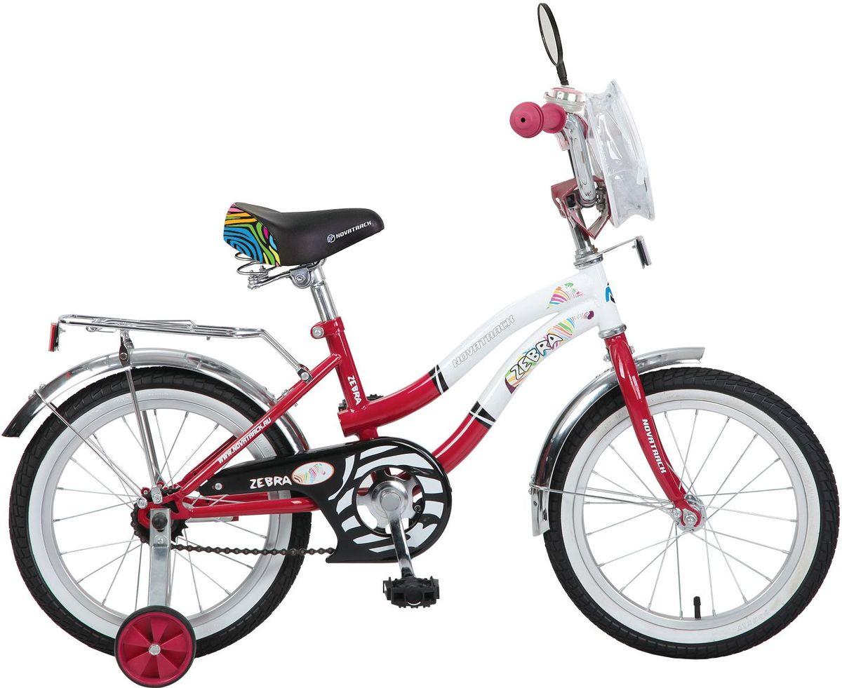 Велосипед детский Novatrack Зебра, цвет: красный, 16165ZEBRA.RD6Велосипед Novatrack Zebra c 16-дюймовыми колесами это надежный велосипед для ребят от 5 до 7 лет. Данная модель специально разработана для начинающих велосипедистов дополнительные колеса, которые можно будет снять, когда ребенок научится держать равновесие, блестящий багажник для перевозки игрушек, надежный ножной тормоза, защита цепи от попадания одежды в механизм - все это сделает каждую поездку юного велосипедиста комфортной и безопасной. Маленькому велосипедисту, будь то мальчик или девочка, обязательно понравятся блестящий звонок и зеркальце заднего вида, которые установлены на руле велосипеда. Высота сидения и руля регулируются, поэтому велосипед прослужит ребенку не один год.