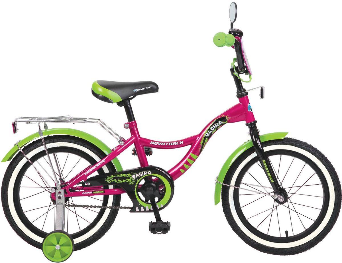 Велосипед детский Novatrack Багира, цвет: розовый, 16167BAGIRA.PN6ВелосипедNovatrack Bagira16-дюймовыми колесами это современный, удобный и безопасный велосипед для девочек от 5 до 7 лет. Велосипед укомплектовали мягким регулируемым седлом, которое беспечит удобную посадку во время катания. Руль велосипеда также регулируется по высоте и наклону, благодаря чему велосипед прослужит ребенку не один год. Данная модель маневренна и легка в управлении, поэтому ребенку будет просто и интересно учиться кататься на велосипеде. По бокам имеются съемные дополнительные колеса, которые нужны до тех пор, пока ребенок не почувствует себя уверенно. Быстро затормозить поможет ножной тормоз. Для перевозки девчачих аксессуаров и всяких нужностей велосипед оснастили багажником. На руле установлен звонкий гудок декоративный щиток и зеркальце, без которого не может обойтись ни одна модница.Над колесами располагаются стальные крылья, которые защитят от брызг и грязи.