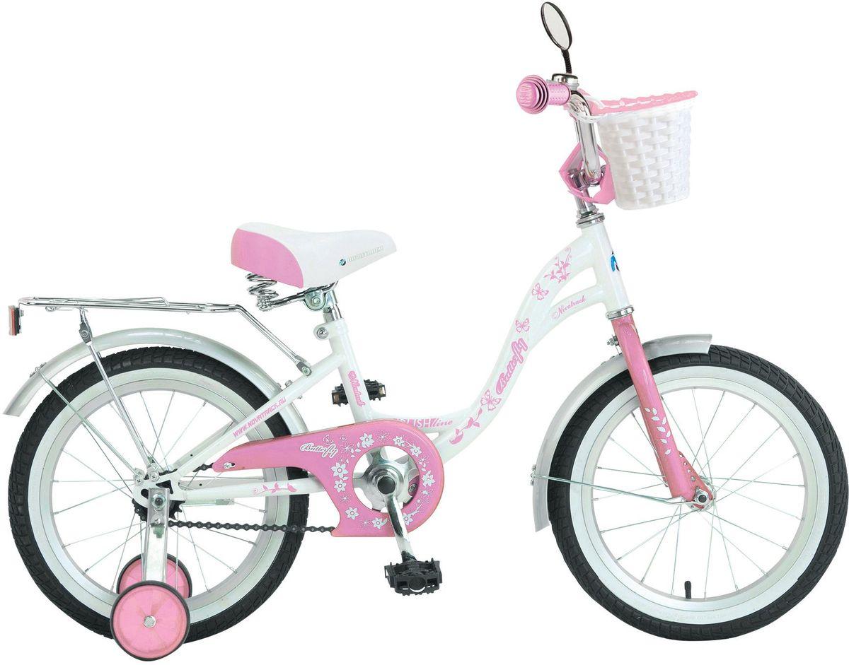 Велосипед детский Novatrack Butterfly, цвет: белый, 16167BUTTERFLY.WPR7Велосипед Novatrack Butterfly 16 это велосипед для юных принцесс 5-7 лет. Эта модель оснащена всем необходимым, для того, чтобы ребенок мог отправиться в увлекательное путешествие. Во-первых, на руле имеется зеркальце. А как без него юной леди Ей же нужно быть уверенной в том, что бантик на голове смотрится отлично Во-вторых, там же установлен великолепный гудок в стиле ретро, при помощи которого маленькая велосипедистка сможет вовремя сообщить зазевавшимся карапузам, что она тут катается. В-третьих, впереди прикреплена вместительная корзинка, куда можно сложить все необходимое. Для устойчивости конструкции к заднему колесу добавлены еще 2 маленьких съемных колесика упасть с такого велосипеда практически невозможно даже на крутом вираже. Сиденье и руль легко регулируются по высоте и надежно фиксируются. Для безопасности также установлена защита цепи, а на колесах имеются крылья и катафоты. Велосипед оборудован задним ножным тормозом, позволяющими при необходимости мгновенно...